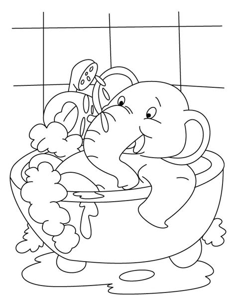 elephant in the bathtub elephant having bath in the tub coloring page download free elephant having bath in