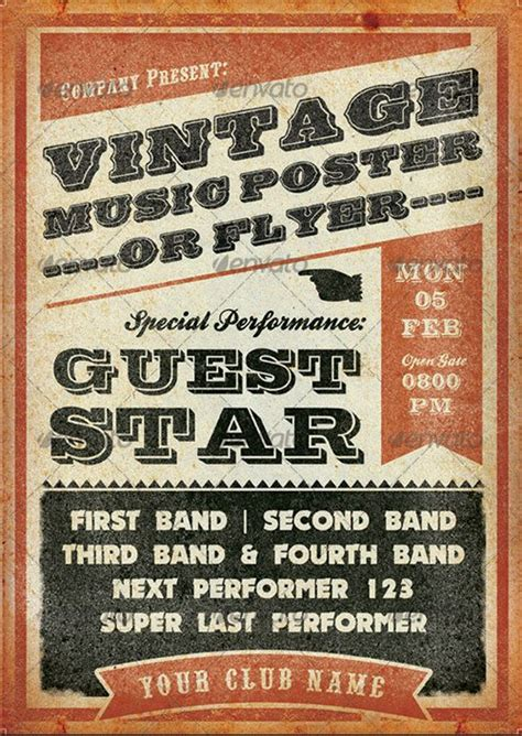 retro poster template top 10 best vintage retro psd flyer templates