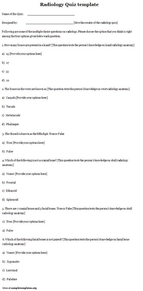 quiz template for radiology template of radiology quiz sle templates