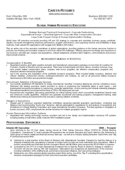 resume exle human resource assistant global human resources executive writing resume sle