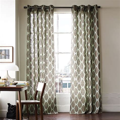 modern patterned curtains ikat ogee linen window panel modern curtains by west elm