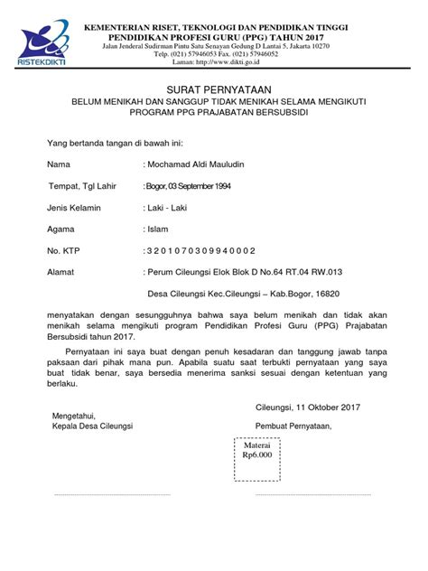 Surat Pernyataan Belum Menikah Dari Rt Doc | Surat Contoh
