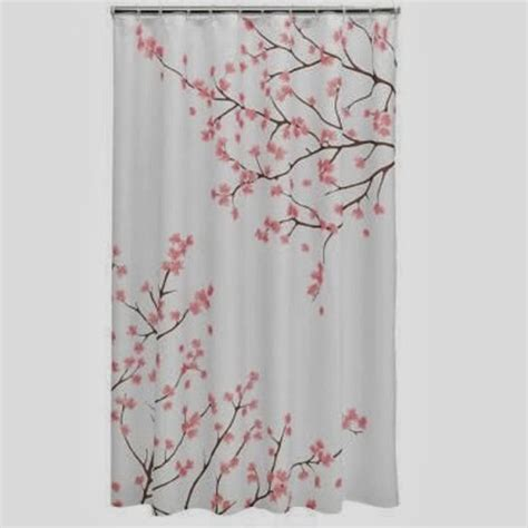 Cherry Blossom Curtains Cherry Blossom Fabric Shower Curtain With Finishing Touch