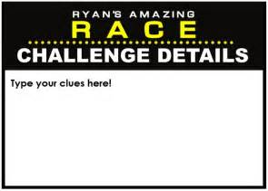 amazing race birthday templates amazing race clues template
