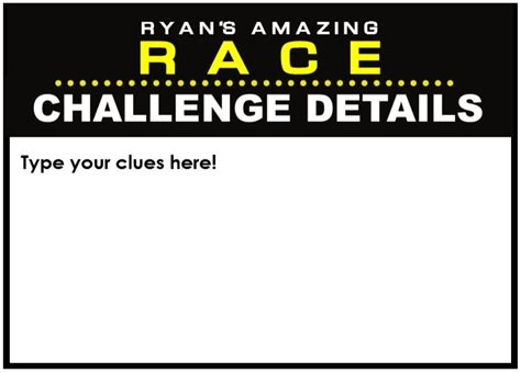 race card template amazing race supplies and invitations