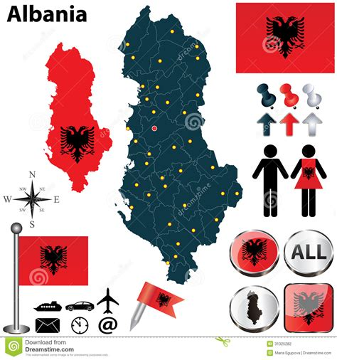 albania map vector map of albania stock vector image of travel regions