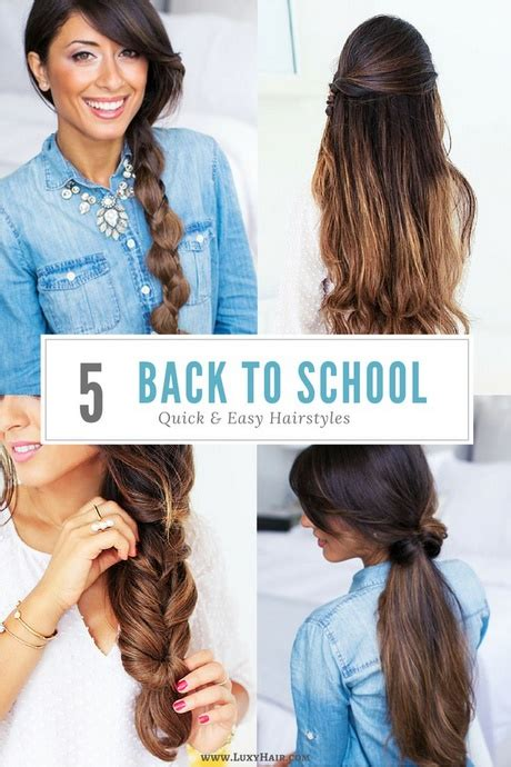 easy hairstyles for school for long thick hair quick and easy hairstyles for long thick hair