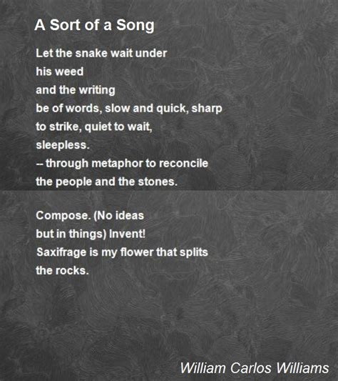 a song a sort of a song poem by william carlos williams poem