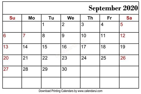 september  blank calendar printable   blank calendar template calendar