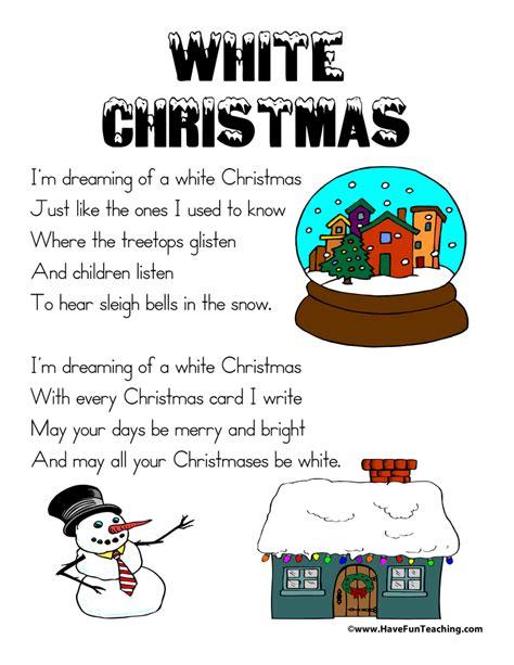 printable lyrics white christmas white christmas lyrics have fun teaching