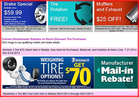mavis tire coupons  rebates   july  cut