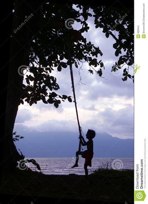 kid on swing kid on swing borneo coast stock images image 693944