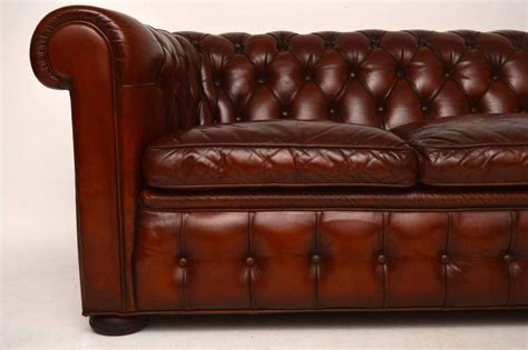 antique leather chesterfield sofa antique leather three seat chesterfield sofa for sale at