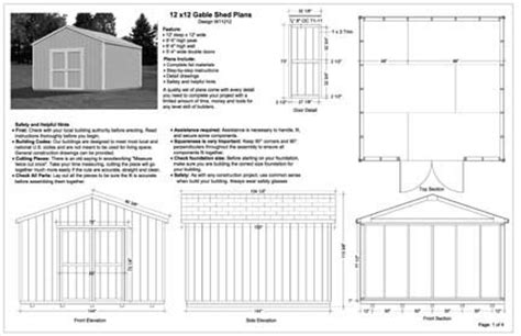 Free 12 X 12 Shed Plans by 12x12 Gable Storage Shed Plans Buy It Now Get It Fast