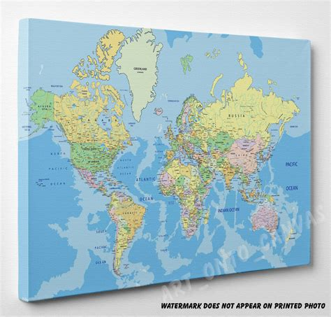 large world map canvas picture print wall art