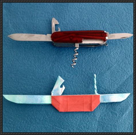 Origami Knife - origami pocket knife free diagram