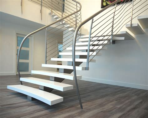 Contemporary Staircase Ideas Flat Staircase Design Using Silver Varnished Metal Banister Rail Also White Stepladder As Well