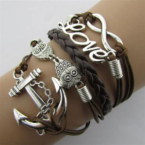 Fashion B077 1 fashion anchors cross bracelet animal owl multilayer leather bracelet jewelry b3 b077 in charm