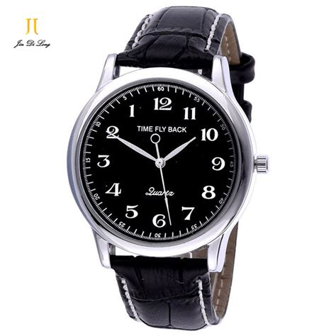 New Fashion Time Leather new fashion anticlockwise watches time fly back wristwatches vintage quartz counterclockwise