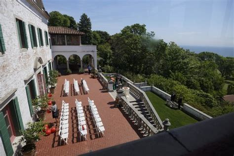Setup for a small wedding overlooking Lake Michigan