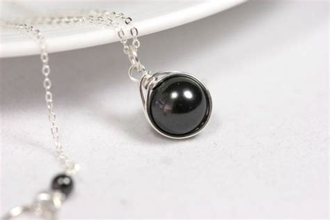 single black pearl necklace wire wrapped jewelry handmade