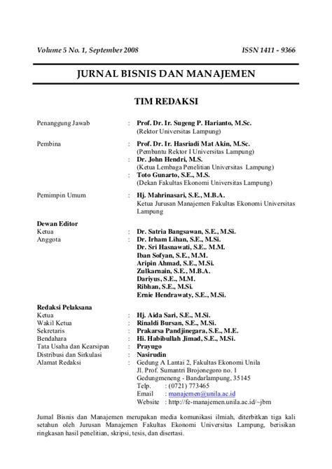 cara membuat jurnal manajemen bisnis jurnal bisnis dan manajemen