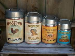 Country Kitchen Canisters Sets Tin Vintage Style Rooster 4pc Country Primitive Kitchen