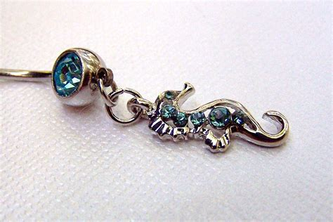 seahorse jewelry sea belly ring belly button jewelry