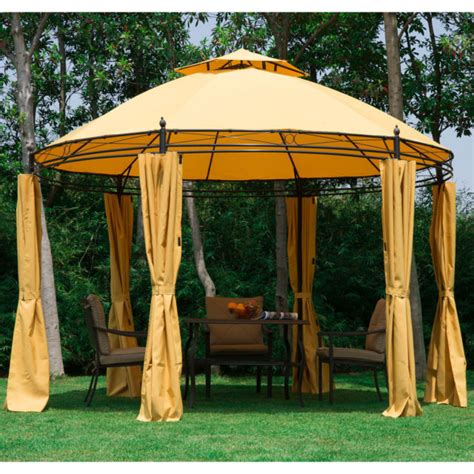Outdoor Gazebo With Curtains Outsunny Outdoor Patio Canopy Gazebo With Curtains 11ft Orange Ebay