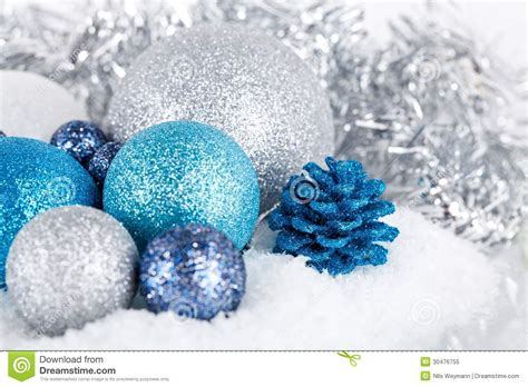 festive glitter christmas decoration silver blue royalty