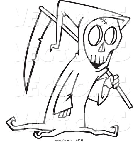 halloween coloring pages grim reaper vector of a cartoon grim reaper carrying a scythe on
