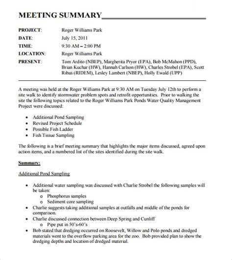 sample meeting summary template  documents