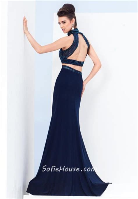 Two Piece High Neck Open Back Navy Blue Chiffon Beaded Evening Prom Dress With Slit