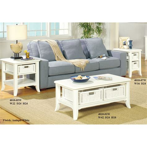 white table set the simple stores antique white coffee table set 4010w