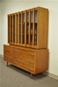 vtg mid century danish modern teak walnut china cabinet