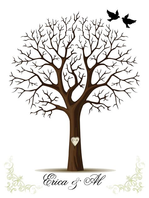 free tree templates wedding fingerprint tree template