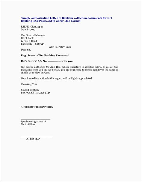 authorization letter for bank template bank authorization letter format image collections