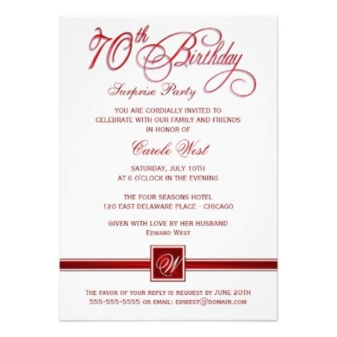 70th birthday surprise party invitations red 70th