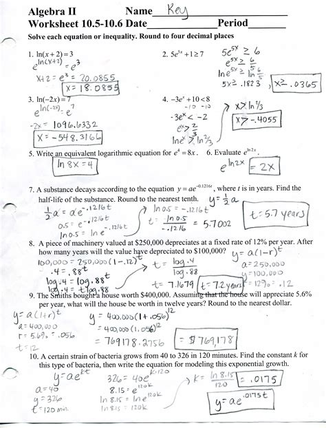 Algebra 2 Worksheets With Answer Key by Prentice Algebra 2 Answer Key Chapter 5 Prentice