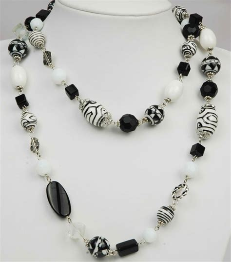 pictures bead jewelry china black white necklace fydsl0039 china