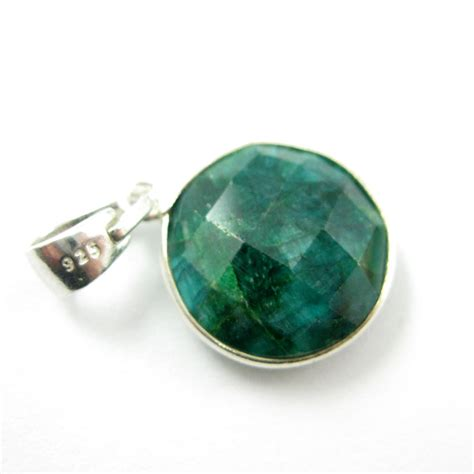 bezel gemstone pendant with bail sterling silver