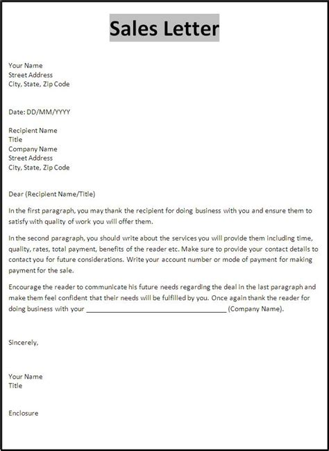 Offer Letter Validity Sle Sales Letter Template Free Printable Word Templates