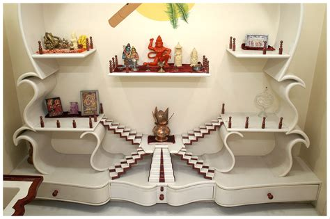 Decoration Of Temple In Home Customised Furniture Manufactured Using Solyx Solid Surface Material