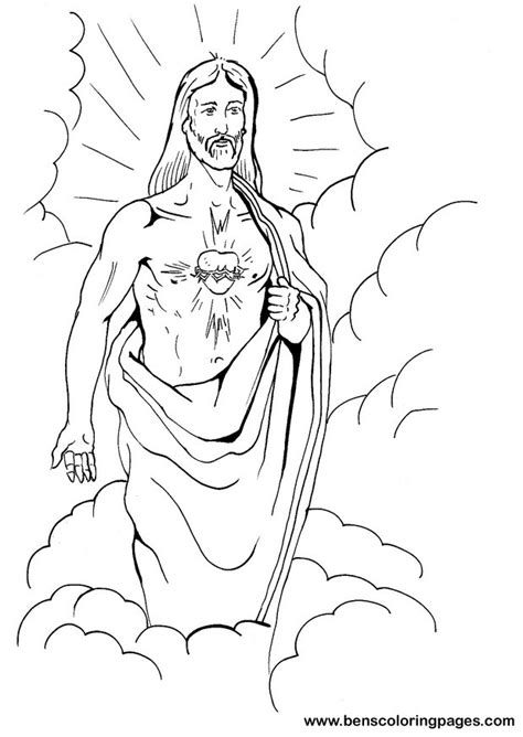 jesus heart coloring page free sacred heart of jesus coloring pages