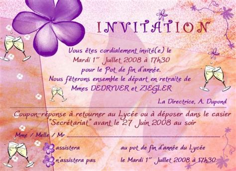 modele invitation pot de depart document