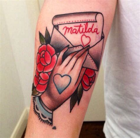 love letter tattoo traditional roses and letters