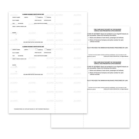 acord auto card insurance template pdf acord 50 auto insurance id cards mines press