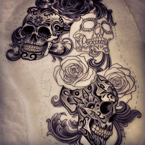 sugar skull and roses tattoo sugar skulls design i m working on adam tattoos