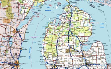 michigan roadmap driving map of state michigan pictures to pin on