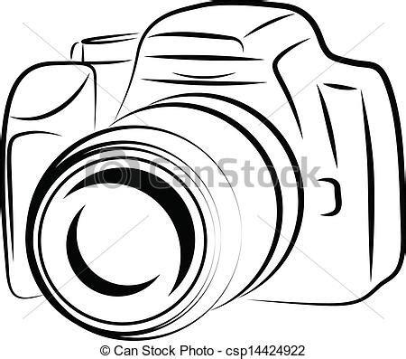 ilustracje wektorowe aparat fotograficzny, kontur, rysunek